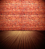 Old Room. Brick wall and wooden floor old domestic room background Royalty Free Stock Image