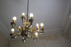 Old room and chandelier. Old room and vintage lamp royalty free stock photos