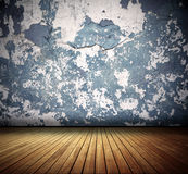 Old Room. Cracked wall and wooden floor old domestic room background Royalty Free Stock Image