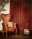 Old room with curtains and vines Royalty Free Stock Photo