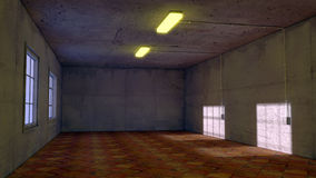 Old room. 3d Old room, window and light Royalty Free Stock Images