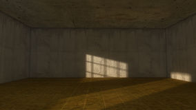 Old room. 3d Old room, window and light Royalty Free Stock Image