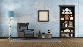 Old room with dark wooden bookcase. Embedded in the wall and classic armchair - 3d rendering Royalty Free Stock Image