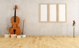 Old room with double bass Stock Image