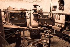 Old room filled with candle making tools in Prague Stock Photos