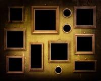 Old room, grunge industrial interior, worn  surface, wooden fram Stock Photos