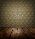 Old Room. With  Ornate Wallpaper And Wooden Floor Royalty Free Stock Photos