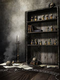 Old room with skulls Royalty Free Stock Images
