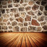 Old Room. Stone wall and wooden floor old domestic room background Stock Photography