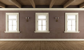 Old room with three windows Stock Photography