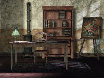 Old room with vintage furniture. Old room with a vintage bookshelf, lamp, and painting stock illustration