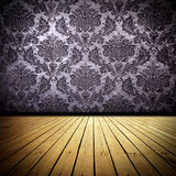 Old Room. Wallpaper and wooden floor old domestic room background Royalty Free Stock Image