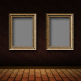 Old room with wood frames Stock Photos