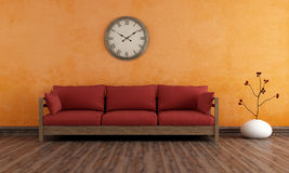 Old room with wooden couch Stock Images