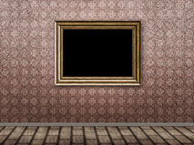 Old room with wooden photo frame Royalty Free Stock Photo