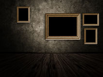 Old room with wooden photo frame Stock Image