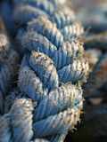 Old Rope 2. Blue Nylon Rope _ highly selective focus stock photo
