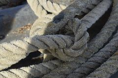 Old rope in a ship. Stock Photo