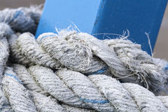 Old rope. Detail of some old ropes on a fishing boat Stock Photo