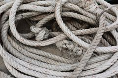 Old rope. Fisherman for a boat Royalty Free Stock Image