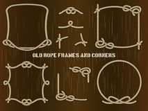 Old Rope Frames and Corners on Brown Background Stock Images