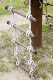 Old Rope ladder in a playground. Old white Rope ladder in a playground Royalty Free Stock Photography