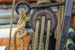 Old rope on sailing boat Stock Image