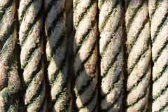 Old rope tied. Rope tied on a yacht. Yacht equipment Stock Photo