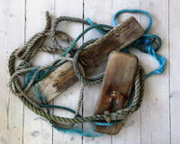 Old rope and wood Royalty Free Stock Photo