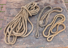 Old ropes of hemp fiber Royalty Free Stock Photography