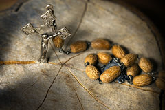Old Rosary with Beads and Cross Stock Images