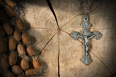 Old Rosary with Beads and Cross Royalty Free Stock Photo