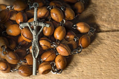 Old Rosary with Beads and Cross Royalty Free Stock Images