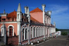 Old rose house. In Obidos amazonian city - North of Brazil stock image