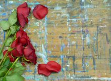 Old roses and wood. Wilted and faded red roses and green stems on a wood surface with multiple paint stains. Some fallen rose petals are scattered around stock photography