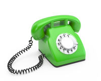 Old rotary green phone. 3d illustration Royalty Free Stock Photography