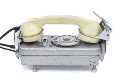 An old rotary phone on white Royalty Free Stock Photography