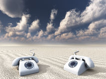 Old Rotary phones. In Barren Landscape Stock Photo