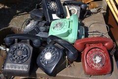 Old rotary phones. Stock Photo