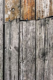 Old Rotten Cracked Pinewood Floorboards With Round Head Machine Screws Embedded Stock Photos