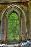 Old rotten doorway of an abandoned mansion of Khvostov  in gothic style Stock Photo