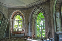 Old rotten doorway of an abandoned mansion of Khvostov  in gothic style Royalty Free Stock Image