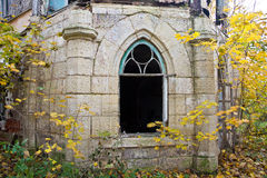 Old rotten doorway of an abandoned mansion of Khvostov in gothic style stock images