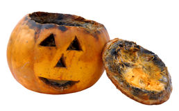 Old rotten jack-o-latern pumpkin Stock Photos