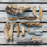 Old rotten wooden pieces and fragments royalty free stock image