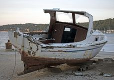 Old rotten wooden ship royalty free stock photo