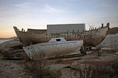 Old rotten wooden ships stock photos
