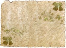 Old rough antique parchment paper   with shamrock Stock Image