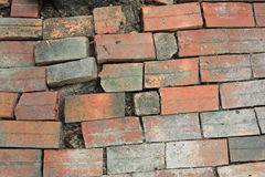 Old rough red brick floor surface Stock Images