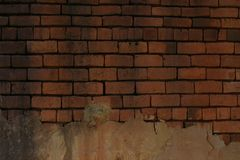 Old Red Clay Brick Wall With Plaster royalty free stock photos